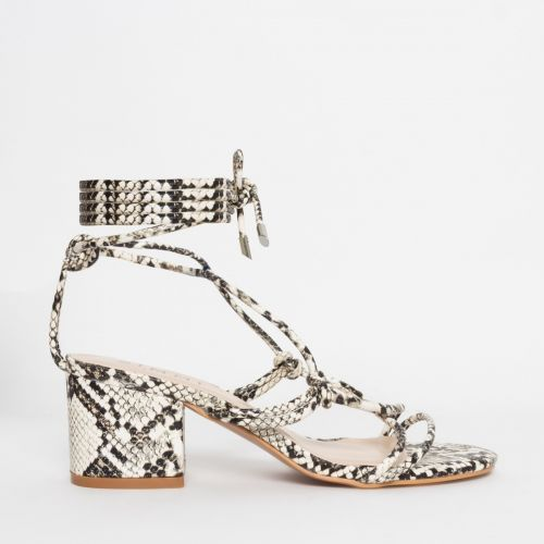 Kacie Beige Snake Lace Up Mid Block Heels
