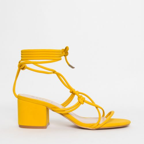 Kacie Yellow Suede Lace Up Mid Block Heels