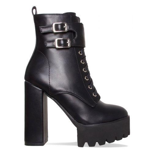 Lois Black Lace Up Platform Ankle Boots