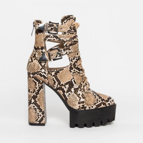 Kanika Beige Snake Cut Out Platform Ankle Boots