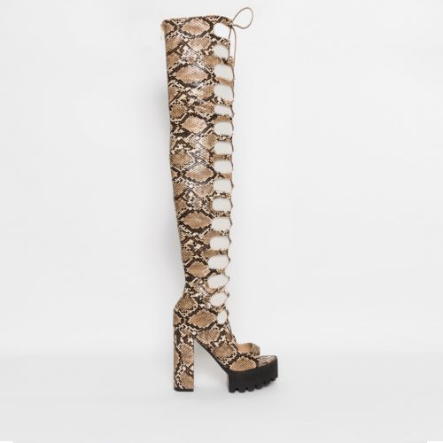 Kaia Beige Snake Lace Up Platform Thigh High Boots