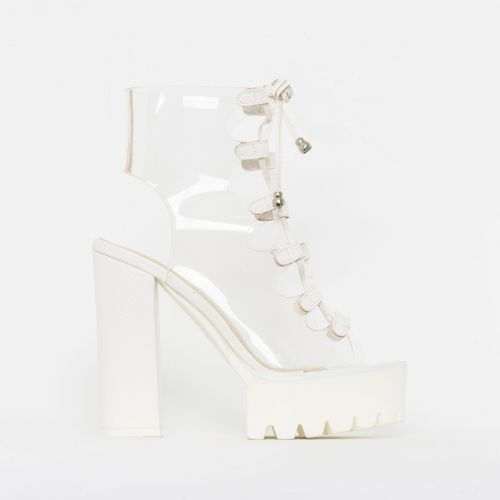 Aimee White Snake Print Clear Lace Up Platform Boots