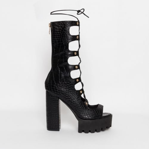 Alketa Black Croc Lace Up Platform Heels