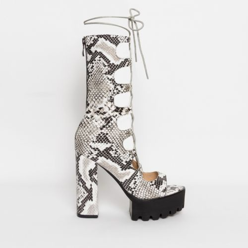 Alketa Black and White Snake Lace Up Platform Heels