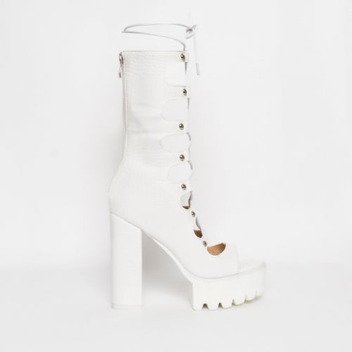 Alketa White Croc Lace Up Platform Heels