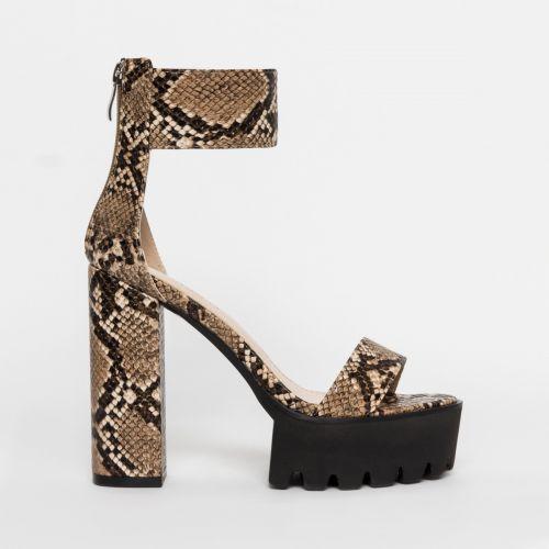 Kamaya Beige Snake Chunky Platform Heels