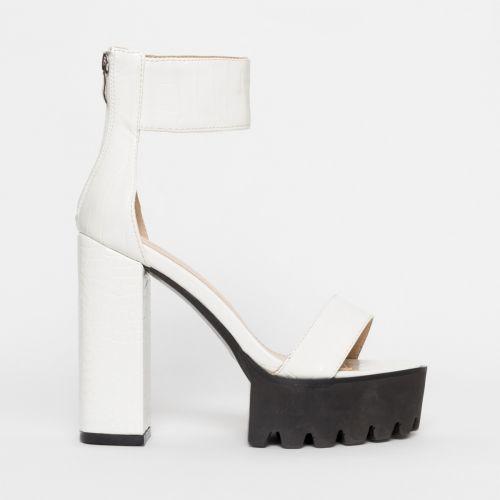 Kamaya White Croc Chunky Platform Heels