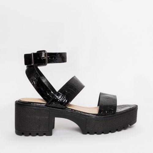 Sienna Black Patent Croc Chunky Sandals