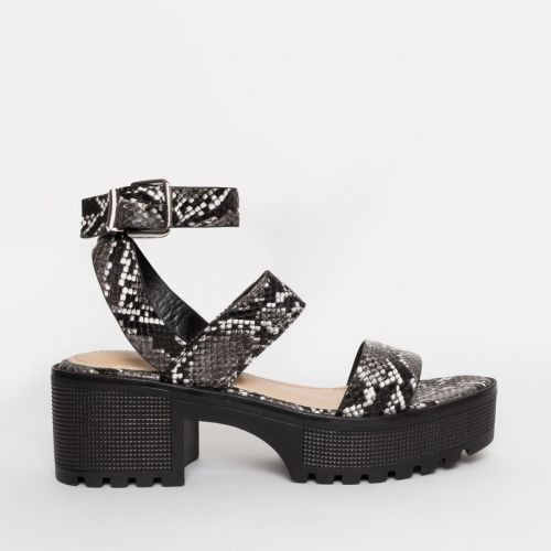 Sienna Grey Snake Chunky Sandals