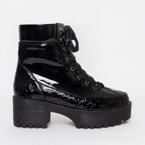 Karmen Black Patent Croc Lace Up Hiking Ankle Boots