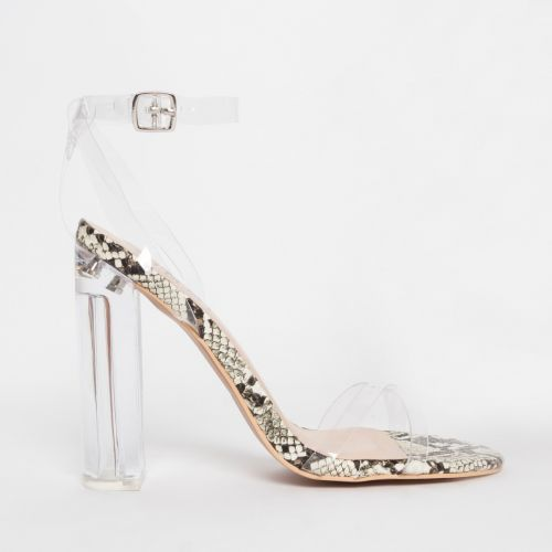 Christa Beige Snake Clear Block Heels