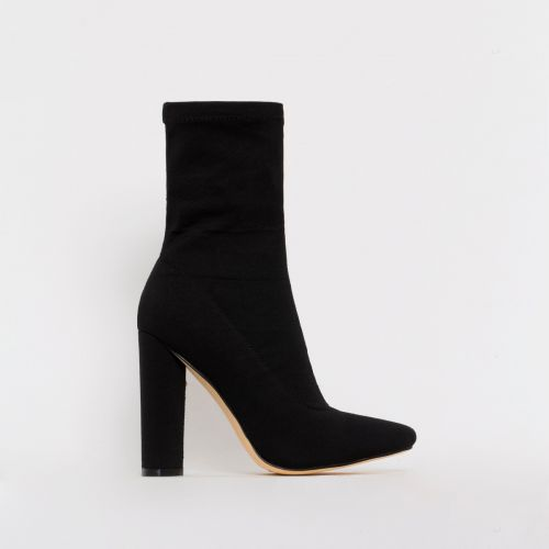 Tyra Black Stretch Block Heel Ankle Boots