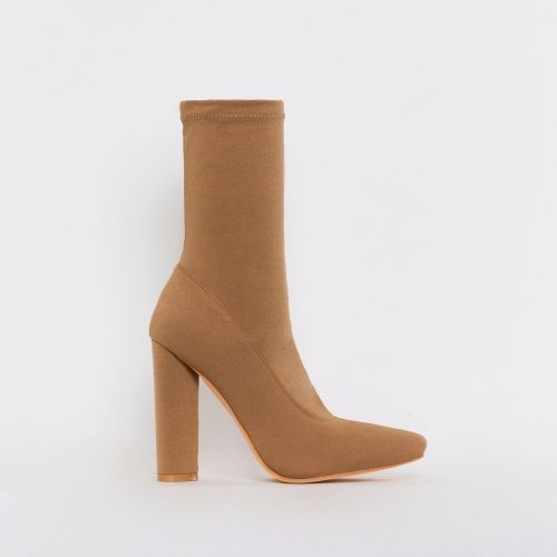 Tyra Beige Stretch Block Heel Ankle Boots
