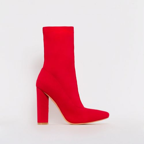 Tyra Red Stretch Block Heel Ankle Boots