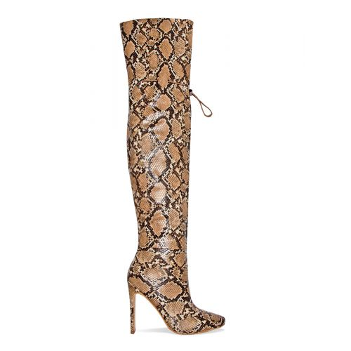 Kalani Beige Snake Toggle Thigh High Boots