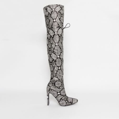 Kalani Grey Snake Toggle Thigh High Boots