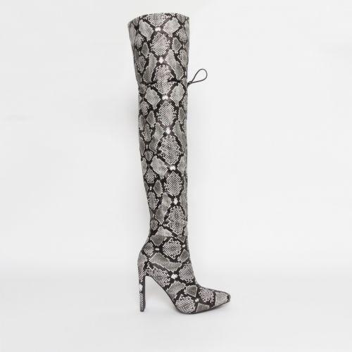 Kalani Grey Snake Toggle Thigh High Boots