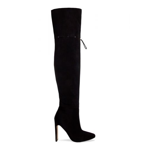 Kalani Black Lycra Toggle Thigh High Boots