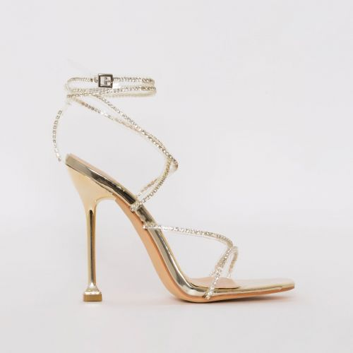 Chantel Gold Clear Diamante Strappy Heels