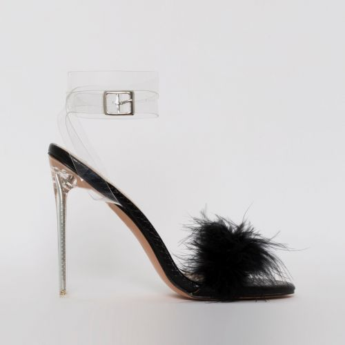 Polly Black Snake Print Fluffy Clear Stiletto Heels