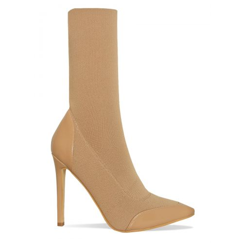 Kelis Coffee Ribbed Patent Stiletto Ankle Boots