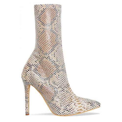 Karma Beige Python Stiletto Ankle Boots