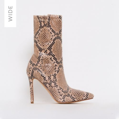 Karma Wide Fit Beige Snake Print Stiletto Ankle Boots