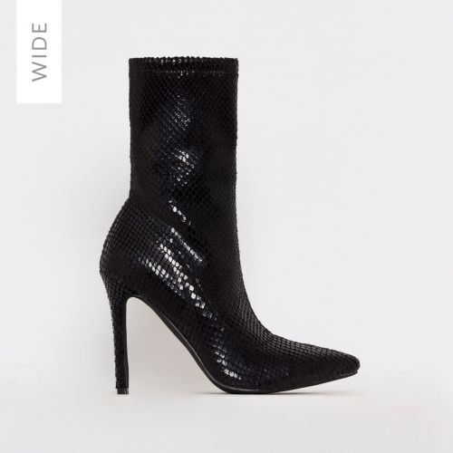 Karma Wide Fit Black Snake Print Stiletto Ankle Boots