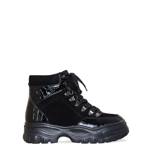 Kylie Black Suede Croc Lace Up Hiking Ankle Boots