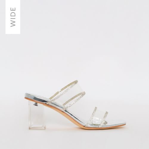 Kerri Wide Fit SIlver Mirror Clear Block Midi Heels