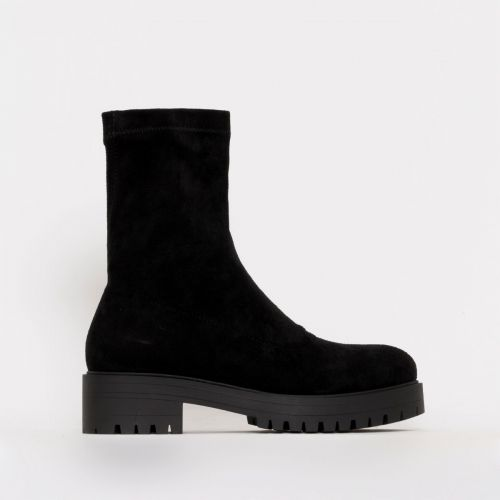 Tae Black Suede Flat Ankle Boots