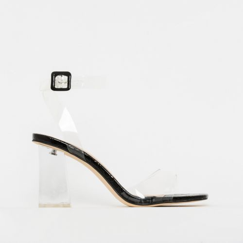 Kehlani Black Patent Croc Print Clear Mid Block Heels