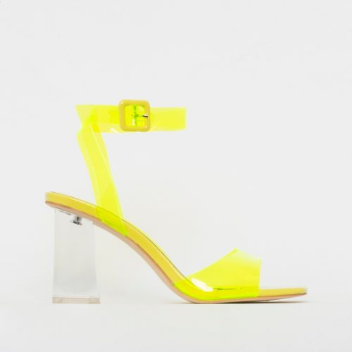 Kehlani Yellow Patent Clear Mid Block Heels