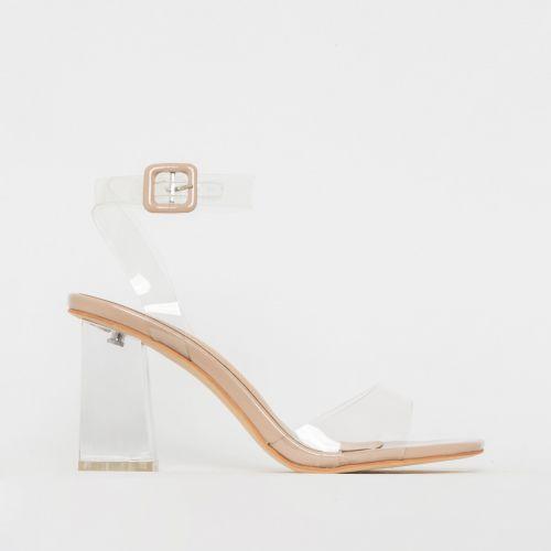 Kehlani Nude Patent Clear Mid Block Heels