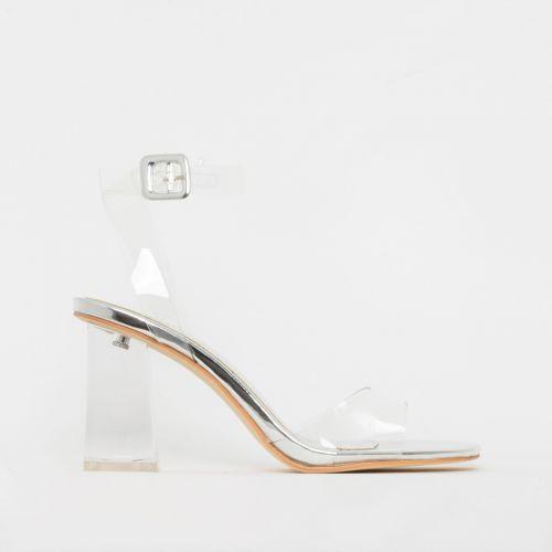 Kehlani Silver Clear Mid Block Heels
