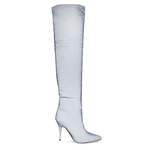 Khloe Reflective Ruched Thigh High Boots
