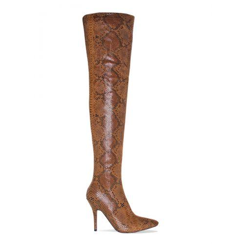 Karina Camel Python Thigh High Boots