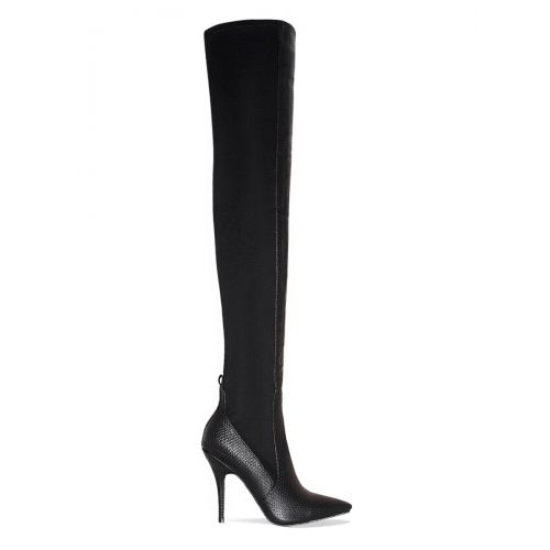 Katia Black Snake Lycra Thigh High Boots