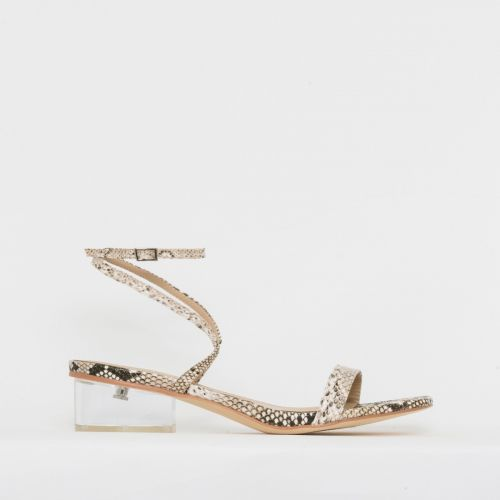 Kia Beige Snake Print Clear Low Block Heels
