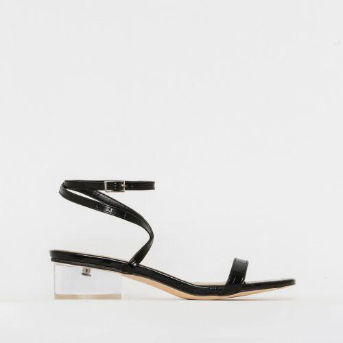 Kia Black Patent Croc Print Clear Low Block Heels