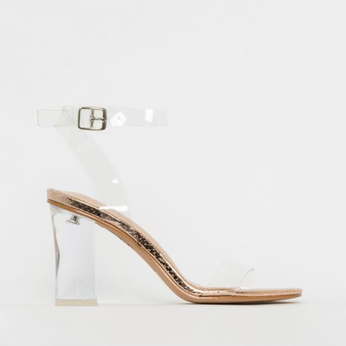 Kimana Rose Gold Snake Print Clear Mid Block Heels