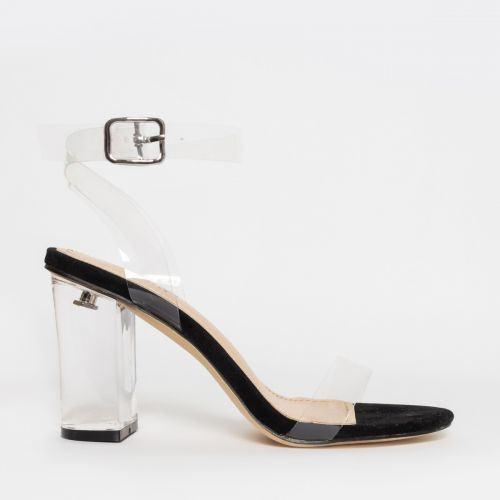 Kimana Black Suede Clear Mid Block Heels