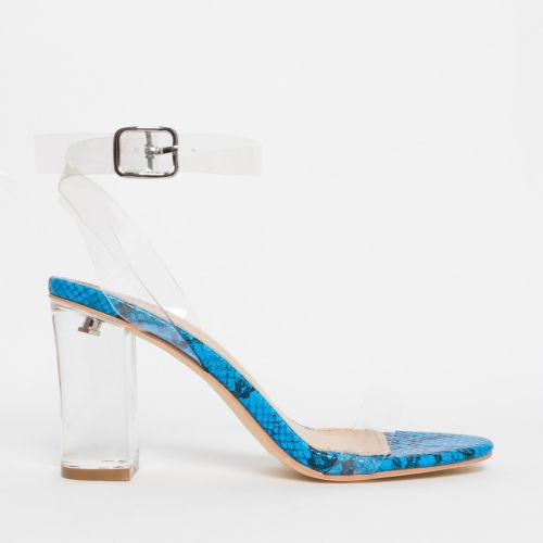 Kimana Blue Snake Clear Mid Block Heels