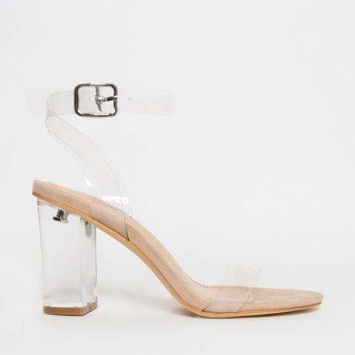 Kimana Nude Suede Clear Mid Block Heels