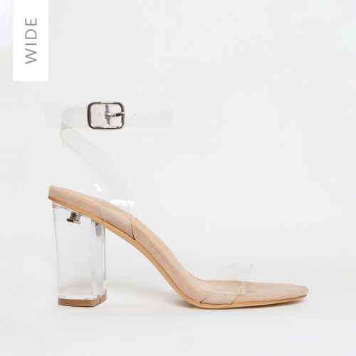 Kimana Wide Fit Nude Suede Clear Mid Block Heels