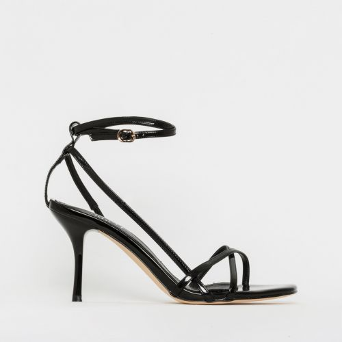 Kimberley Black Patent Strappy Mid Stiletto Heels