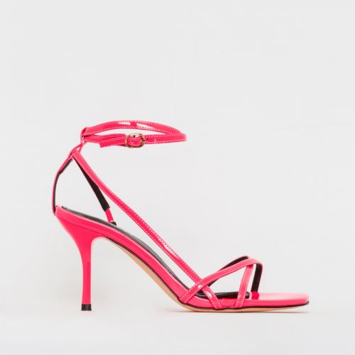 Kimberley Neon Pink Patent Strappy Mid Stiletto Heels