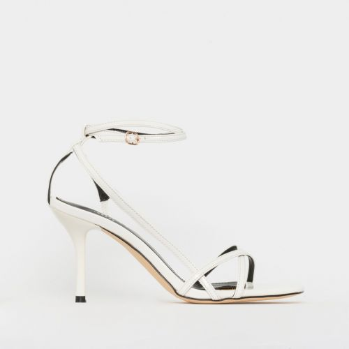 Kimberley White Patent Strappy Mid Stiletto Heels