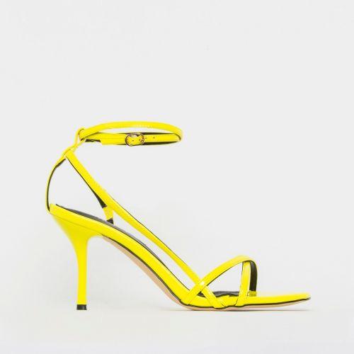 Kimberley Neon Yellow Patent Strappy Mid Stiletto Heels