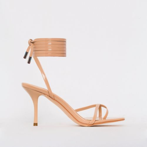 Amara Nude Patent Lace Up Mid Stiletto Heels